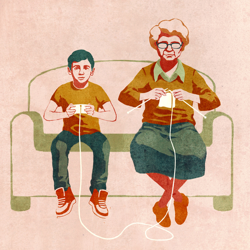 grandmother knitting, boy playing video game on couch conceptual illustration by Joey Guidone.