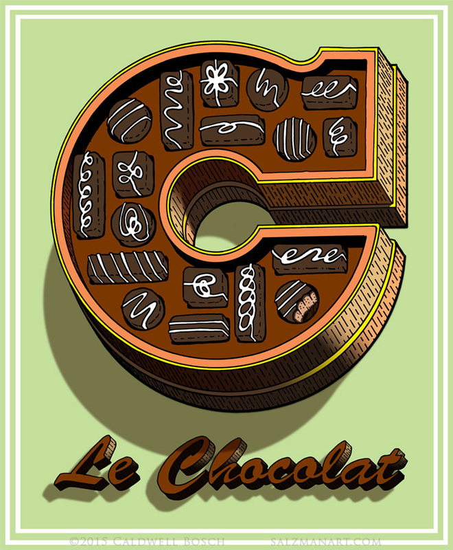 Le Chocolat; hand-lettered illustration by Caldwell Bosch.