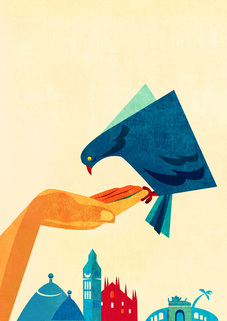 advertising illustration of blue bird in hand by Daria Kirpach