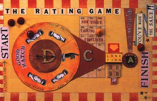 The Rating Game, 3D illustration assemblage by Nancy Gibson-Nash. Rep: Richard Salzman