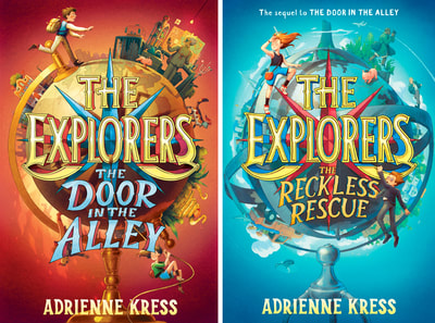The Explorers logo and book titles: The Door in the Alley, and The Reckless Rescue in situ. Author: Adrienne Kress. Client: Random House; art director: Katrina Damkoehler