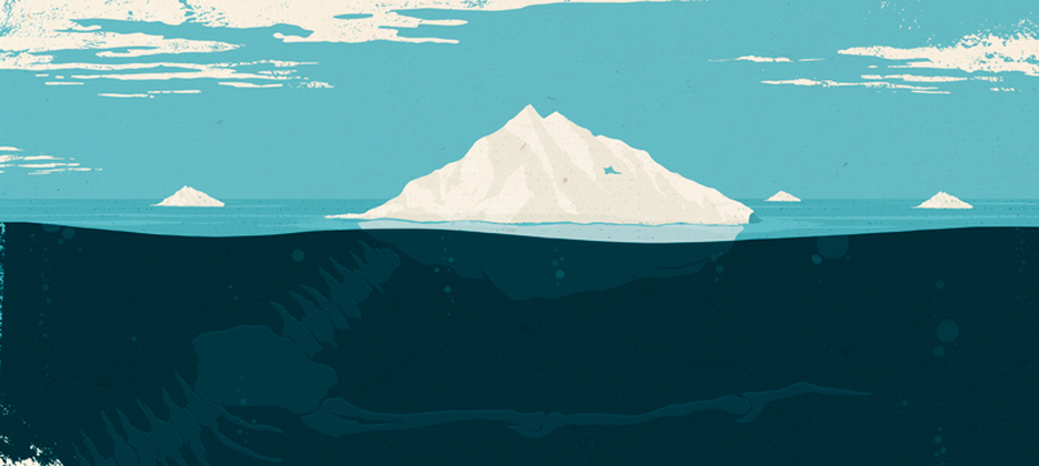 seascape with dinosaur bones conceptual illustration by Oli Winward