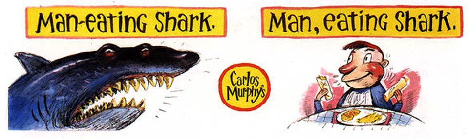 Carlos Murphys advertising illustration by Everett Peck - Man Eating Shark.