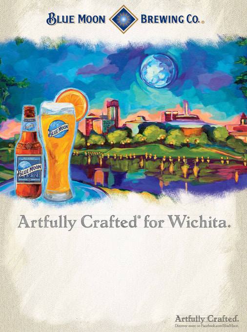 Blue Moon Brewing Co advertising illustration by Nell Pierce.