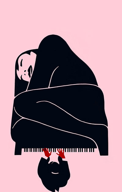 conceptual illustration of a woman and a piano by Ivan Canu