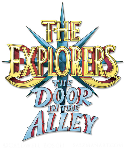 The Explorers logo and The Door in the Alley book title. Random House; art director: Katrina Damkoehler