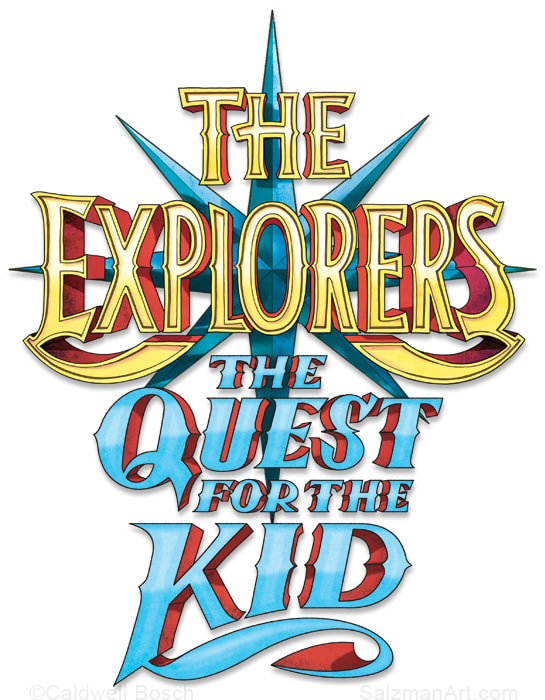 The Explorers logo and The Quest For The Kid book title. Random House; art director: Katrina Damkoehler
