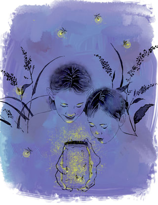 fireflies in jar, children at night nature illustration by Denise Hilton-Campbell.