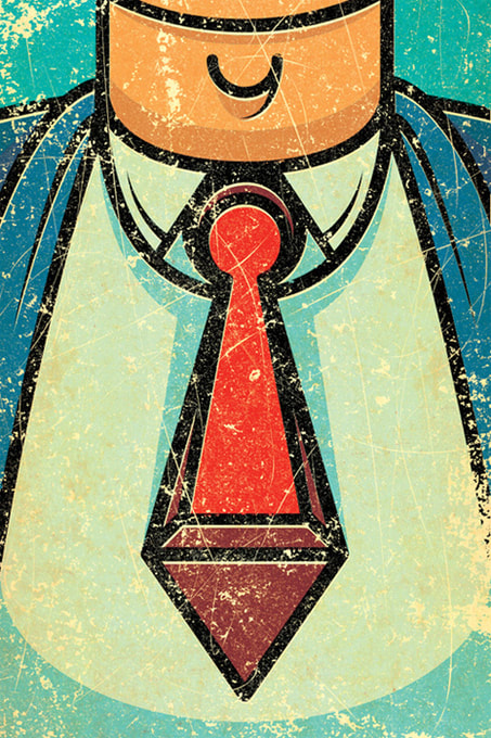 Necktie keyhole editorial illustration by Alexei Vella.