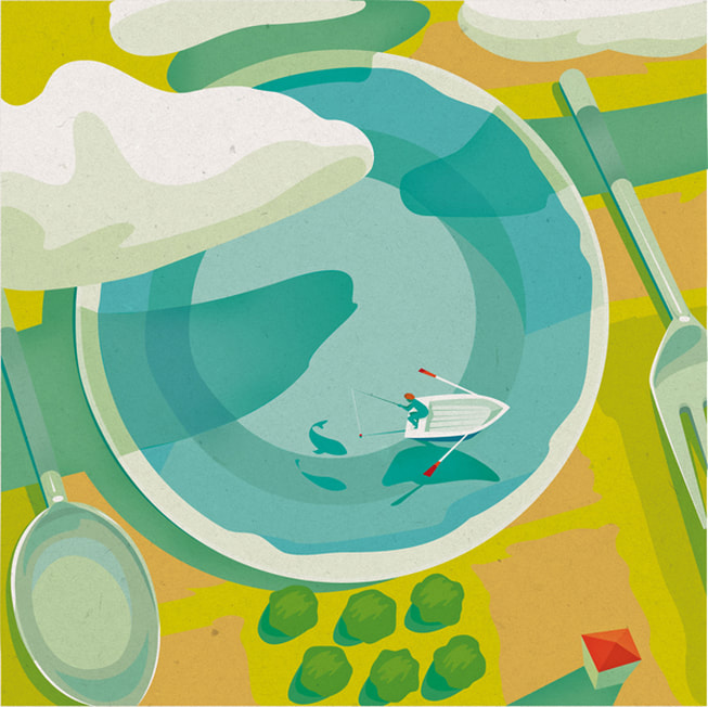 rowboat fishing table setting scene conceptual illustration by Daria Kirpach.