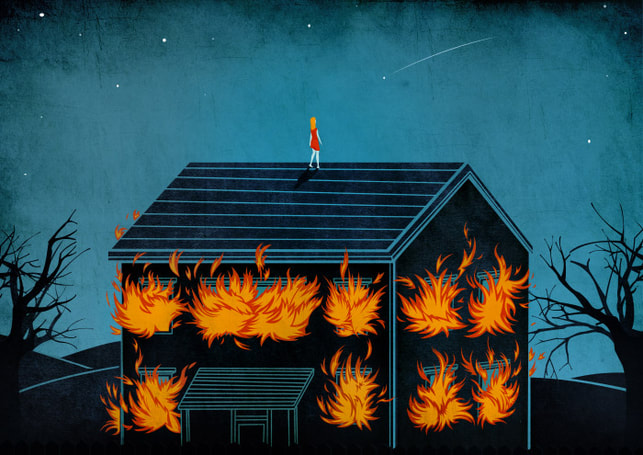 burning house, woman on roof conceptual illustration by Bendetto Cristofani.
