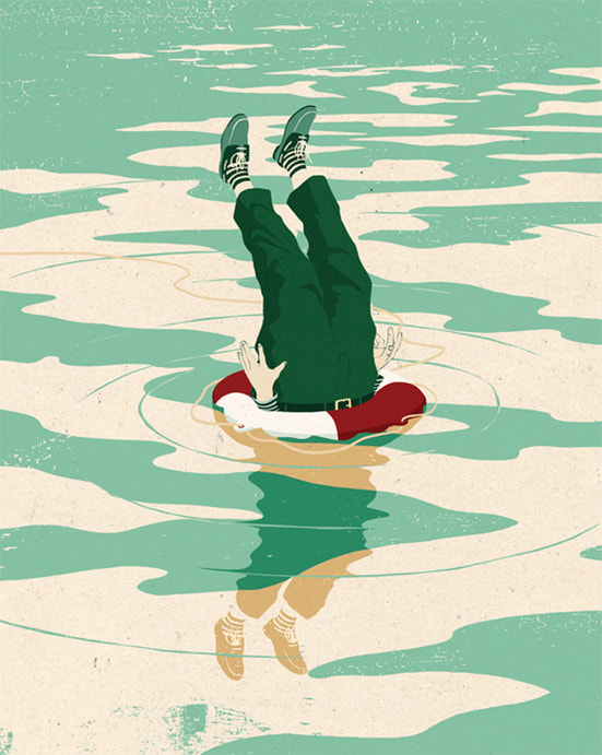 Upside down man in life preserver editorial illustration by Mark Smith.